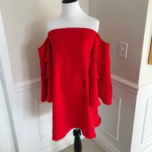 NWT Chicwish Red Cold Shoulder Top XS